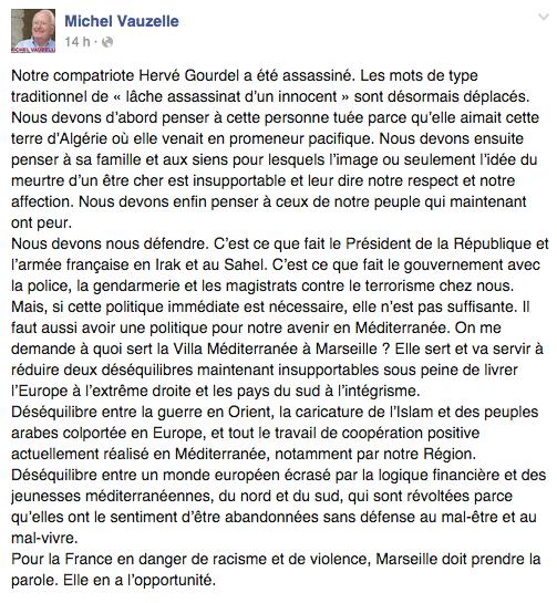 Michel Vauzelle s'est exprimé mercredi 24 septembre, sur son compte Facebook.
