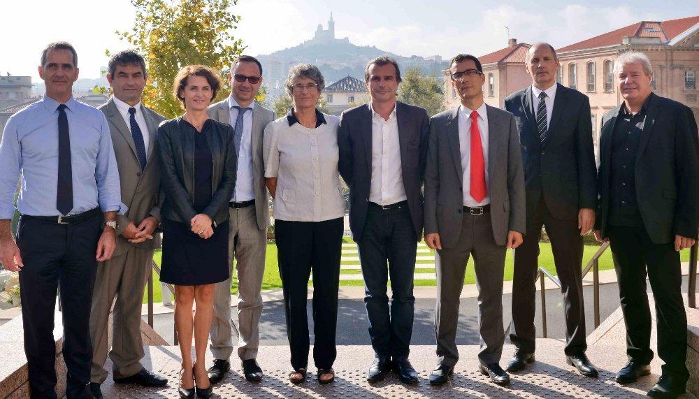 Les organisateurs des Med Business Days parmi lesquels Jean-Luc Chauvin (UPE 13), Jean-Daniel Beurnier (CCI International Paca) et Michèle Trégan (Région Paca). Photo crédit @ccipaca