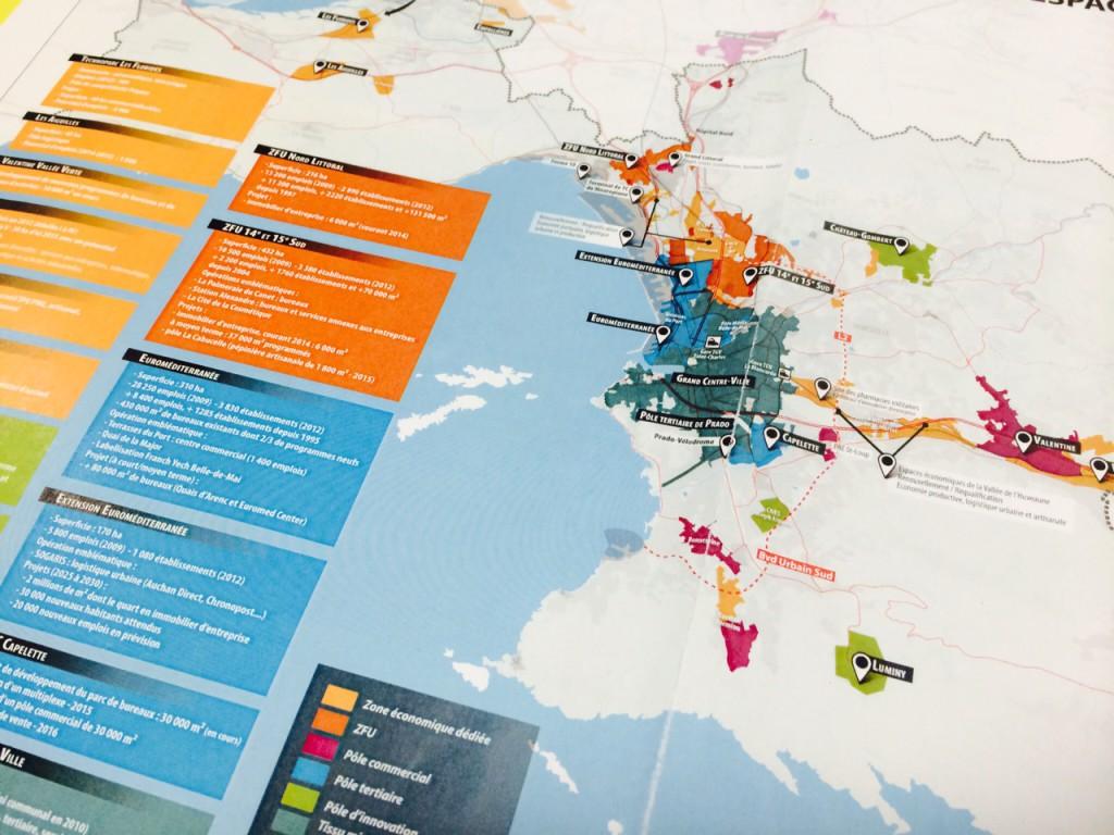 Cartographie des espaces économiques et les projets dans les quartiers nord. (Source Agam, MPM)