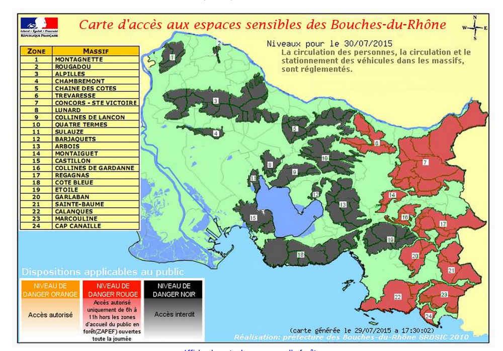 La carte des accès aux massifs sensibles jeudi 30 juillet 2015