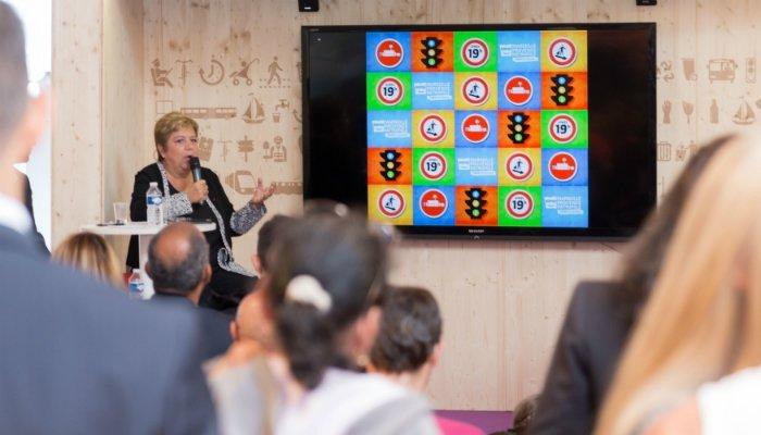 Monique Cordier, lors de la conférence de presse de présentation du nouveau dispositif de MPM pour la propreté, à la Foire de Marseille, le 30 septembre 2015. Crédit MPM_D .Girard.