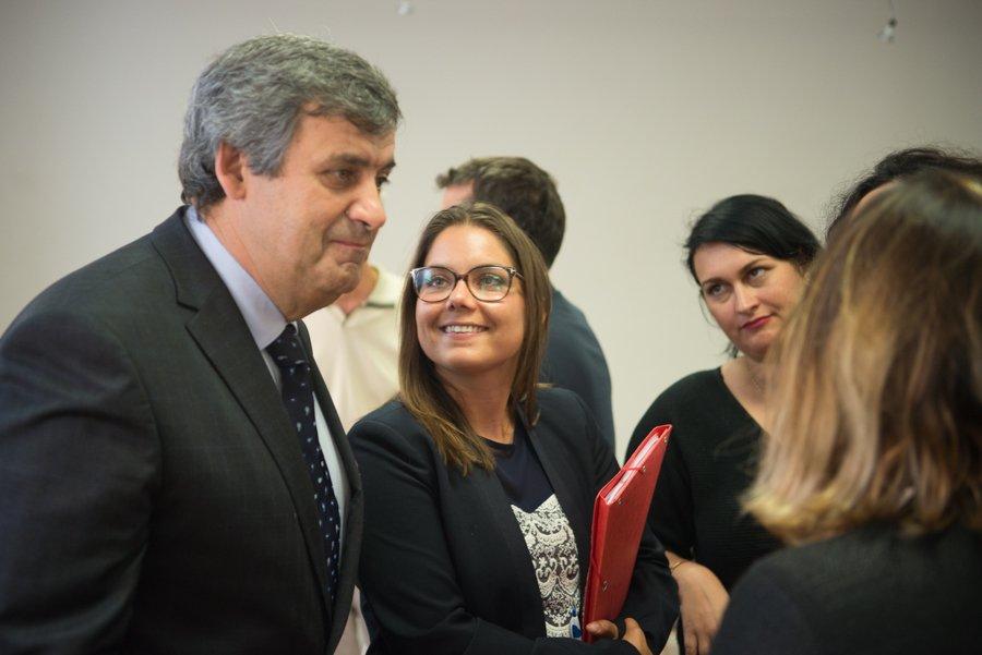 Thierry Schifano (président de l'Interpro santé) et Emilie Royère (Directrice d'Eurobiomed)