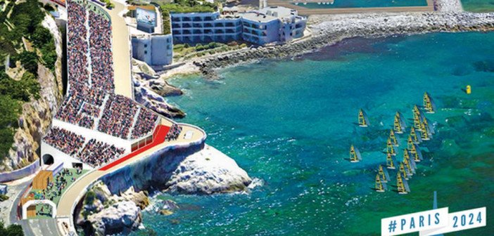 Vue de la tribune générale qui serait installée sur la Corniche pour assister aux épreuves de voiles sur le plan d'eau de Marseille.