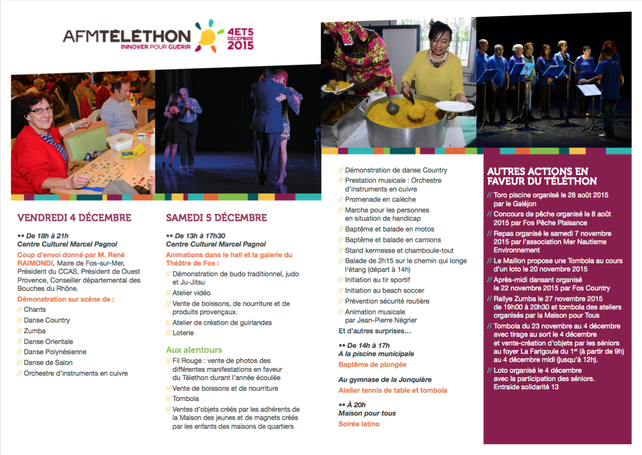 Programme Téléthon Fos-sur-Mer 2015