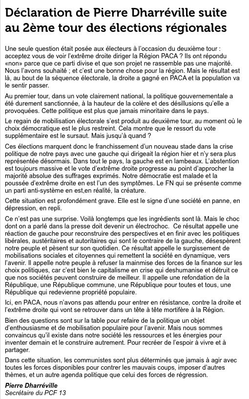 Réaction Pierre Dharréville (PCF)