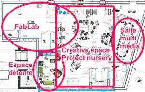 Plan du futur centre de coworking et comaking