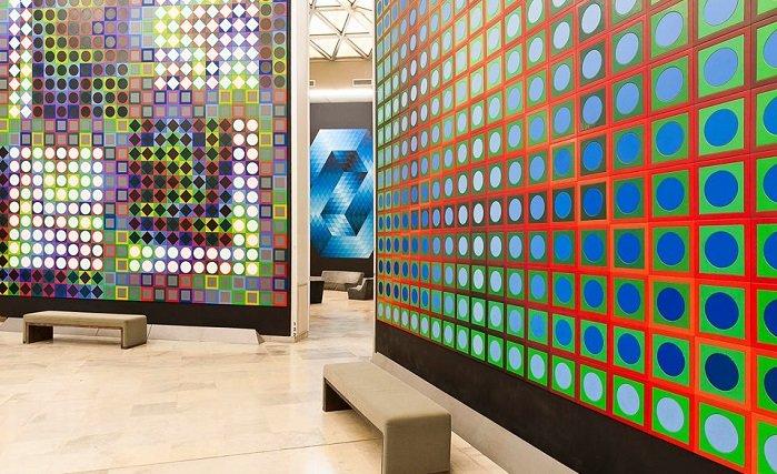 La fondation Vasarely vue de l'intérieur