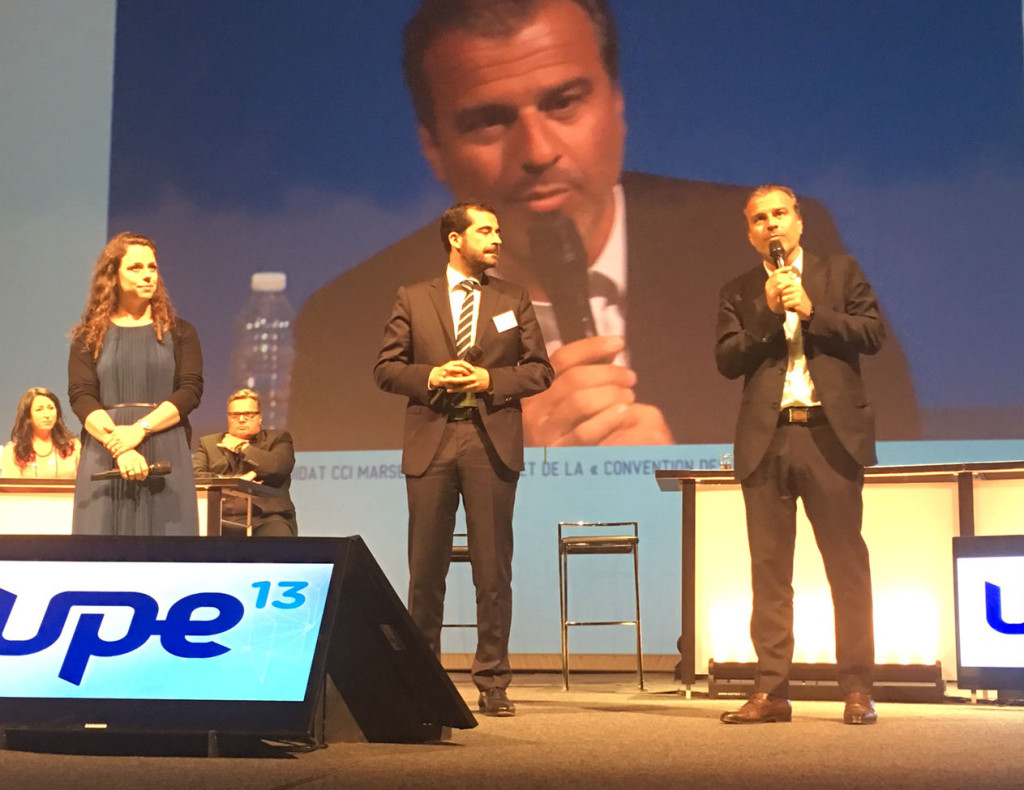 Jean-Luc Chauvin avec Johan Bencivenga le président de l'UPE 13 et  Heidi Salazar