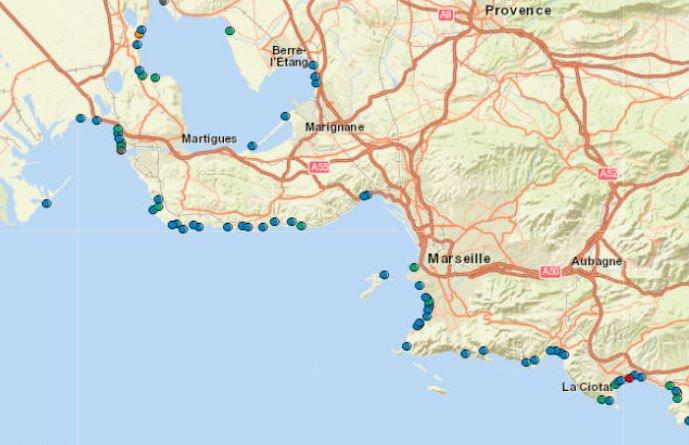 Une partie de la carte de l'ARS présente la qualité des eaux dans les lieux de baignades dans les Bouches du Rhône/ARS