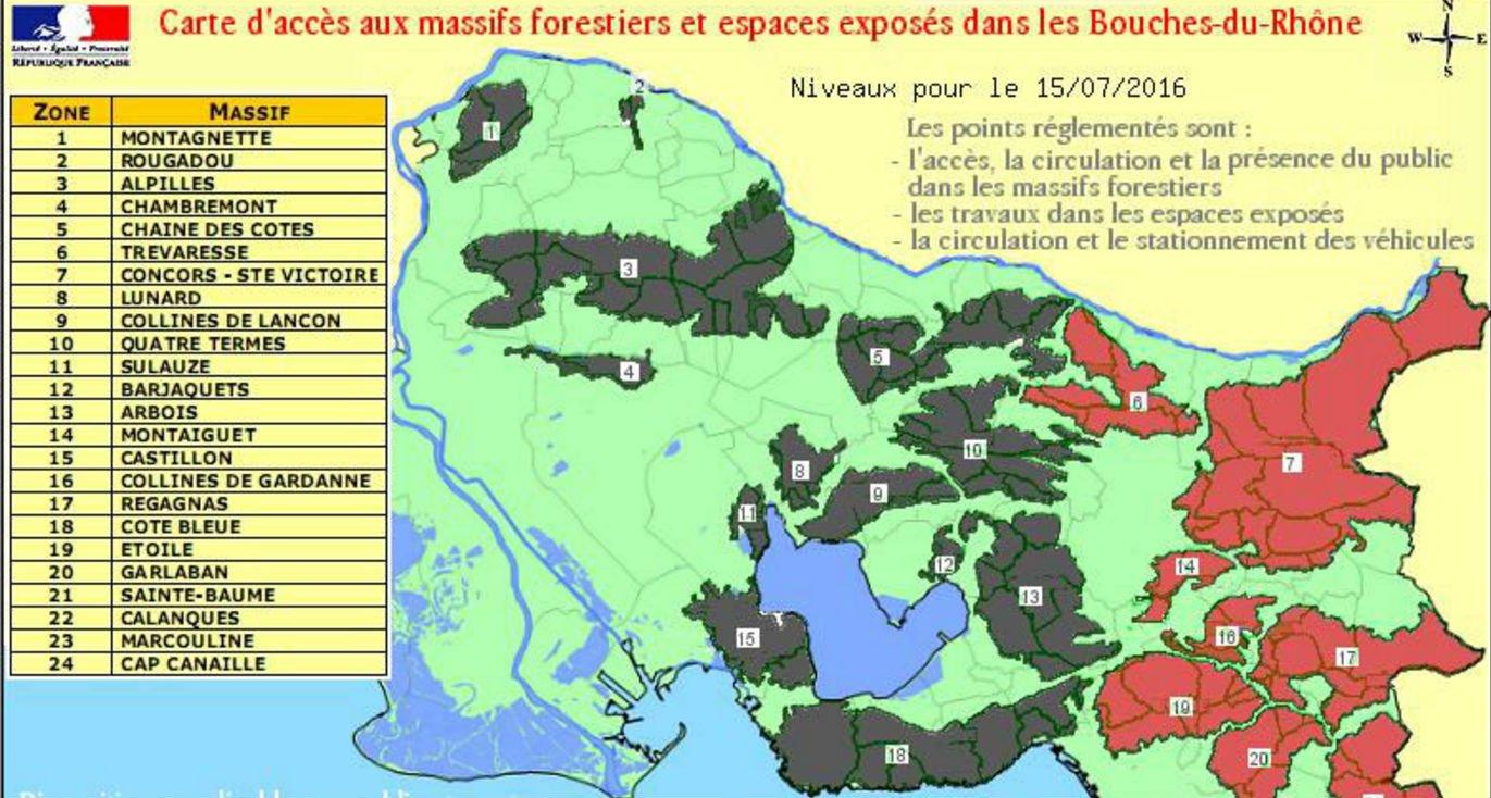 Incendies 13 massifs interdits d 39 acc s dans les bouches for Bouches rhone