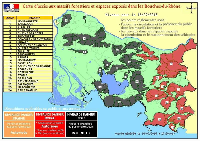 Risque d'incendie: 13 massifs interdits d'accès le 15 juillet