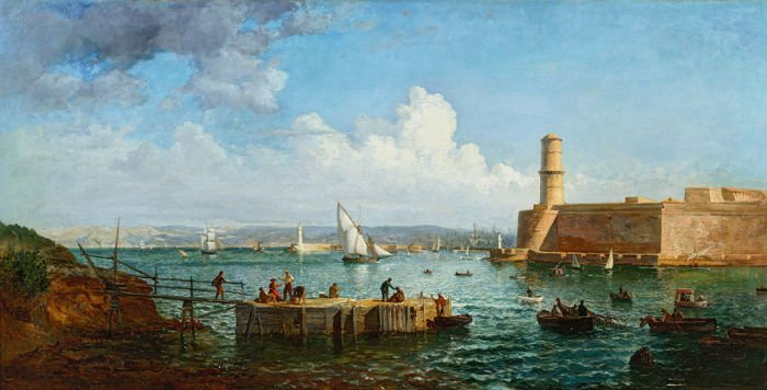 """Un tableau présent à l'exposition """"Lumière & Douceur"""" présente des pêcheurs sur le Vieux-Port,"""