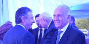 A gauche, Giancarlo Fagiano, président d'Emyg, avec Jean-Claude Gaudin et le maire de Carnoux-en-Provence Jean-Pierre Giorgi