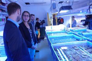 Maud Fontenoy en visite dans le laboratoire Coral Biome (archives Gomet' / crédit RM)