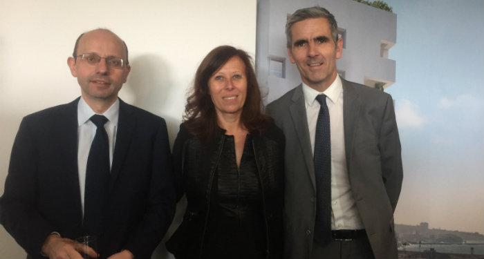 Hervé Gatineau, directeur immobilier grands projets Eiffage, Sandrine Bordin, présidente du directoire de Logis Méditerranée et Luc Bouvet, directeur régional Eiffage