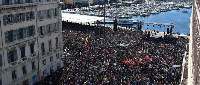 Jean-Luc Mélenchon en meeting à Marseille. Credits photo : Twitter / @JLMelenchon
