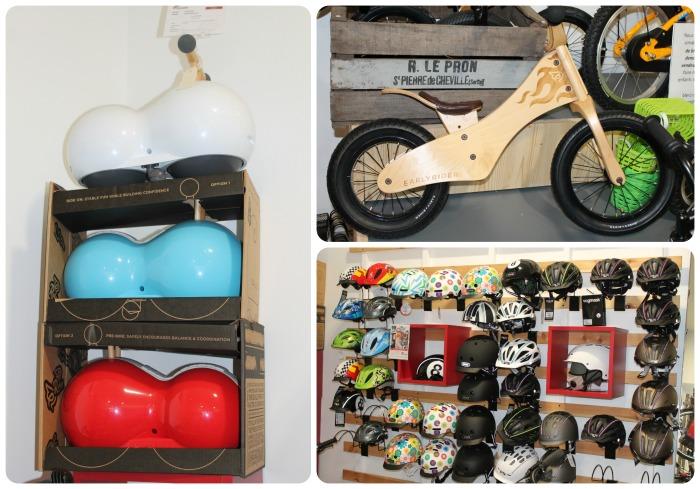 Spherovélo 100€ et draisienne en bois 190€ chez Early Rider ; collection de casques enfants à partir de 32€