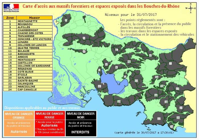 La carte d'accès aux massifs forestiers pour ce lundi 31 juillet