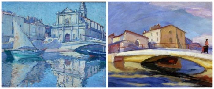 L'église Saint-Genest de Paul Madeline (collection privée) ; Personnages sur le pont de Martigues (1904) de Charles Camoin (coll. Fondation Regards de Provence) droite)