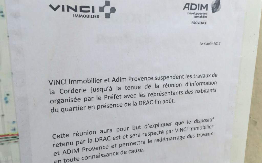 Les promoteurs Vinci et Admi renvoient à la réunion de fin août pour  la suite des opérations boulevard de la Corderie.