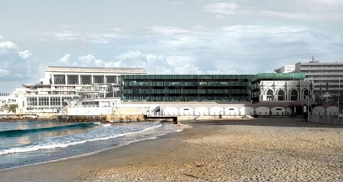 La résidence vue de la palge des Catalans (Rudy Ricciotti)