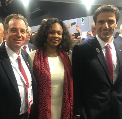 Renaud Muselier aux côtés de Laura Flessel et Tony Estanguet