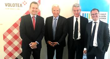 Les dirigeants de l'aéroport et de Volotea à Marseille le 26 septembre pour annoncer le développement de la compagne espagnole en Provence (Photo XDR)