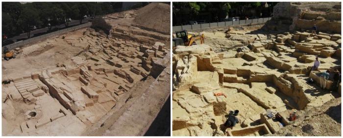 Vues de la carrière : à gauche la partie conservée avec le puis antique et les sarcophages (©C.Montoya / Inrap)
