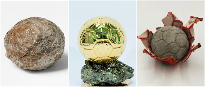 À Alger, en or pour la Fifa 2007 ou signé Khaled Jarrar : le ballon rond est présenté sous toutes ses coutures (DR : Y.Inchierman, Musée national du sport de Nice, Galerie Polaris Paris)