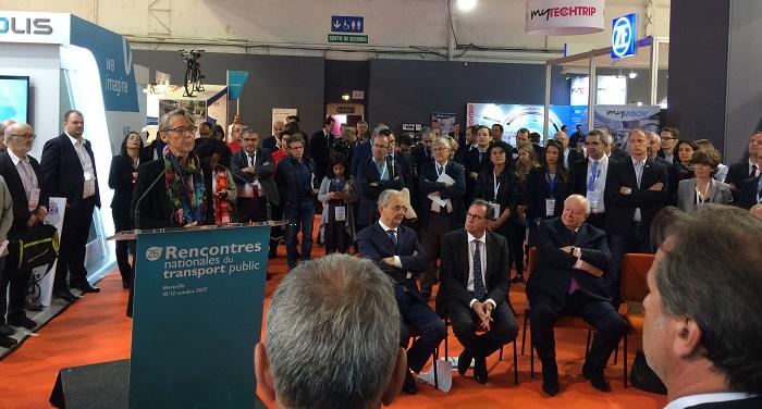 La ministre a donné sa vision des transports publics aux élus locaux. Ici, renaud Muselier, président de la région Paca, et Jean-Claude Gaudin, président de la Métropole Aix-marseille