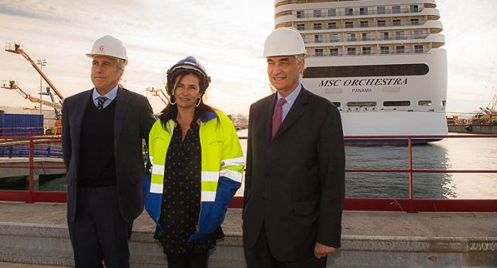 De gauche à droite : Ferdinando Garré, PDT de San Giorgio del Porto, Christine cabau-Woehrel, présidente du directoire du GPMM et Jacques Hardelay, président du CNM