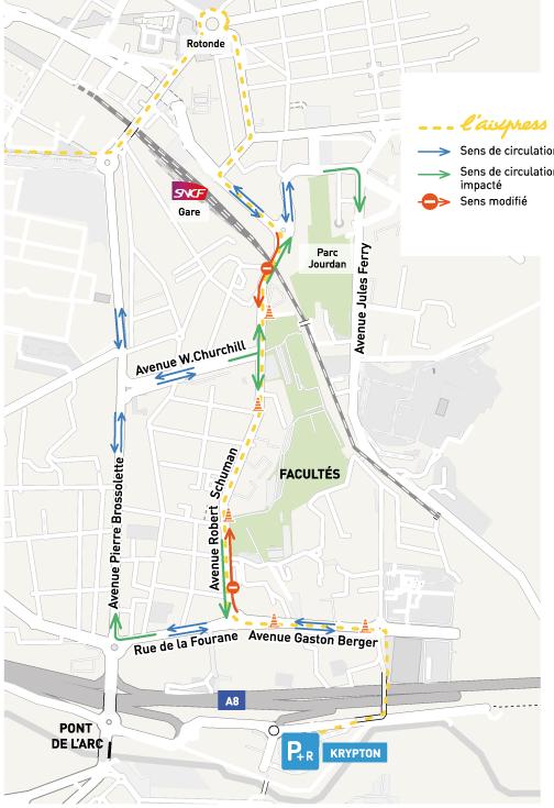 Nouveau plan de circulation BHNS Aix