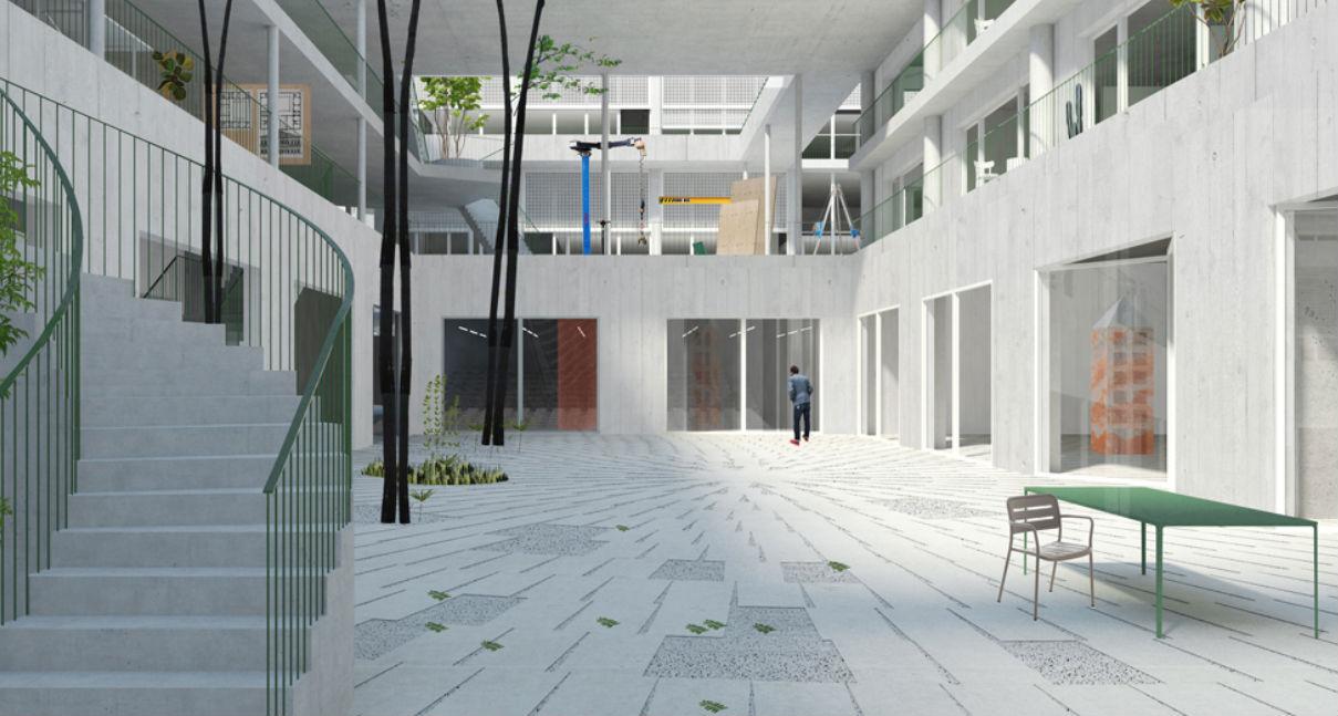 Le projet, développé par NP2F en association avec les architectes de Marion Bernard, de Point Supreme et Jacques Lucan donnera toute sa place à la transversalité entre les écoles, aux échanges entre les étudiants et une ambition forte d'ouverture vers un territoire d'Euromed en plein renouvellement; l'IMVT s'ouvre résolument vers la ville pour en recevoir tous les échos. Crédit photo : NP2F.