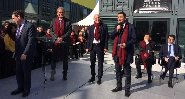 Dingguo Chen, le président du Mif 68, aux côtés de Gurvan Lemée et de Xavier Giocanti, les patrons du promoteur Résiliance