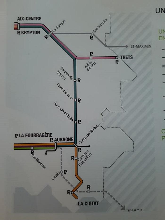 Le tracé du fameux métro express qui traversera le Pays d'Aubagne et de l'Etoile