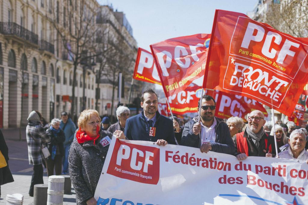 Le PCF était aux côtés des grévistes ce jeudi 22 mars. Photo: PCF13.