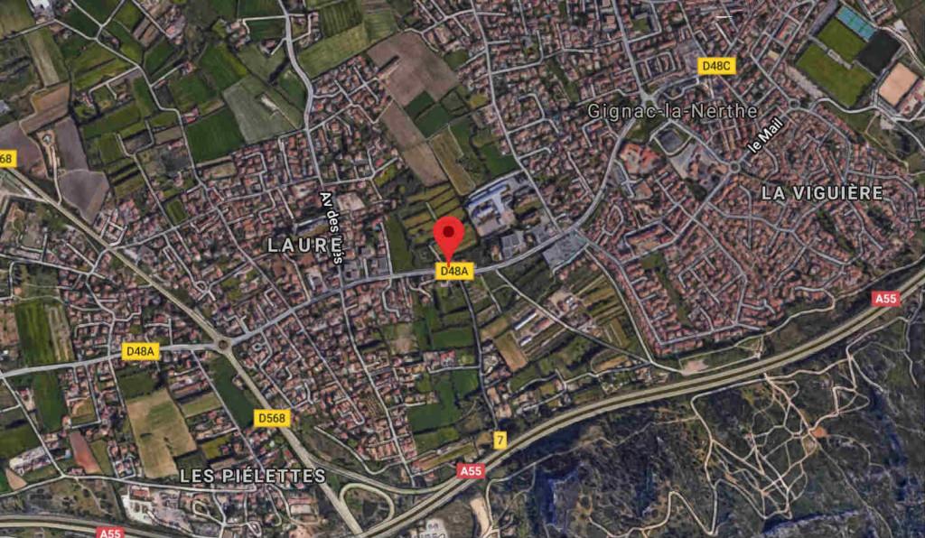 Le site de la Pousaraque entre le hameau de Laure et le centre ancien Gignac (Capture Google Map).