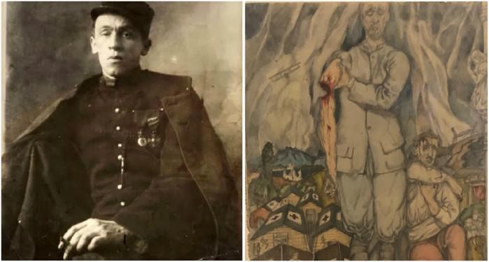 Alors que Blaise Cendars est amputé d'un bras, Alexandre Zinoview représente un soldat dont le bras a été arraché dans les combats.