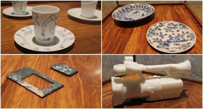 """Porcelaine de Chine au décor """"doigt d'honneur"""", IPhone taillé dans une pierre ancestrale, caméra video de jade... quelle valeur accordons-nous à ces objets ? (©DV)"""
