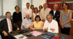 L'acte de vente a été signé jeudi 12 juillet 2018, par le bâtonnier Geneviève Maillet présentant le barreau de Marseille, Jean-David Ciot et Nora Mebarek représentant tous deux la Fédération socialiste des Bouches-du-Rhône. Photo Cécile Hourlier.