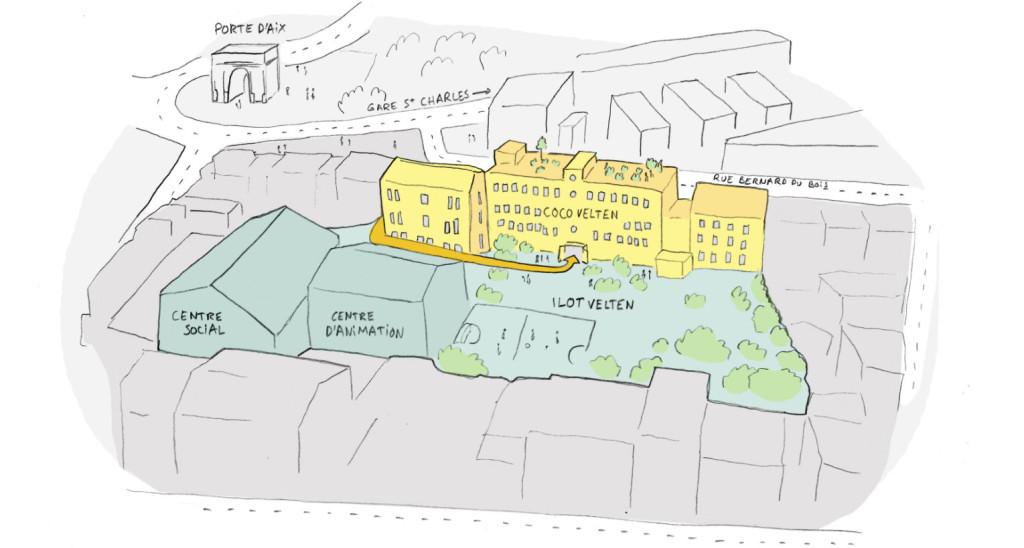 Coco Velten, 4000 m2 d'occupation temporaire mixte, près de la porte d'Aix. Illustration Yes We Camp.