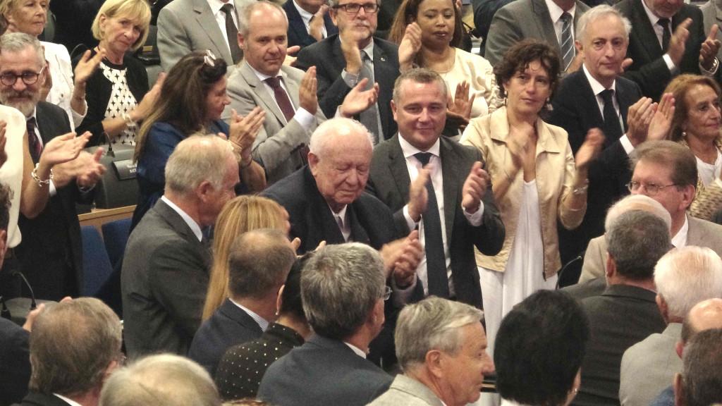 Martine Vassal a rendu un «hommage, appuyé, sincère profond à Jean-Claude Gaudin qui a porté la métropole sur les fonts baptismaux»,. Photo N.K.