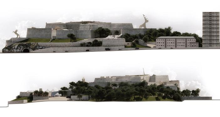 Un plan de coupe présentant ce que pourrait devenir le fort d'Entrecasteaux (Groupe SOS)