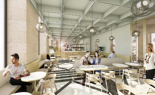 """Vue depuis le """"work-café"""". Illustrations MJ architectes."""