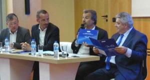 De g. à d., les responsables de l'UPE 13, de la CPME 13 avec Jean-Luc Chauvin président de la CCI MP et le préfet Dartout (Photo JFE)