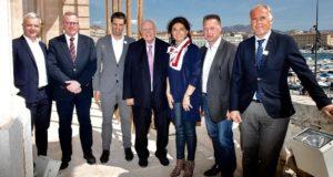 Martine Vassal et Jean-Claude Gaudin ont présenté leur projet de marina olympique à côté du Mucem à Tony Estanguet, président du Comité d'Organisation des JO 2024