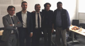 De gauche à droite : Philippe Stefanini, DG de Provence Promotion, Maximilian Bock, P-dg de Netwookie, Jean-Luc Chauvin, président de la CCI, Béatrice Aliphat, Vice-présidente de Provence Promotion et JK Pillai, P-dg de Bovlabs (Crédit RM)