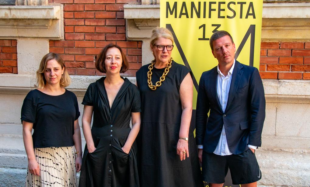 Une partie de l'équipe artistique de Manifesta 13 Marseille avec la directrice Hedwig Fijen (Photo JY Delattre/Gomet')