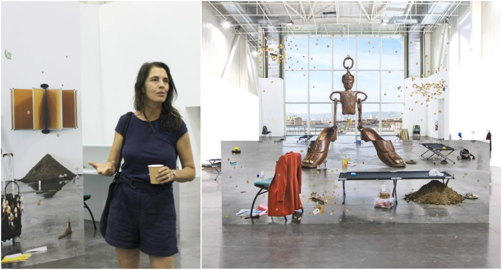 Emmanuelle Lainé (©DV) et un détail de son installation (©C. Dutrey)