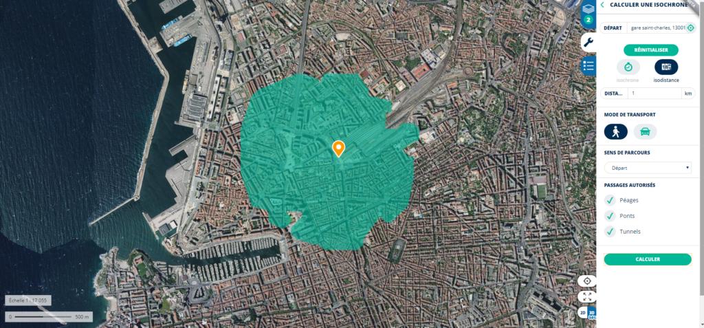 L'application Géoportail permet de modéliser sur une carte un rayon d'un kilomètre autour d'un point fixe.